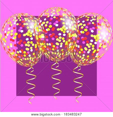 Transparent balloons with spangles confetti and streamers. Background for Night Party Halloween or Christmas Holiday and Celebration . Vector illustration EPS10