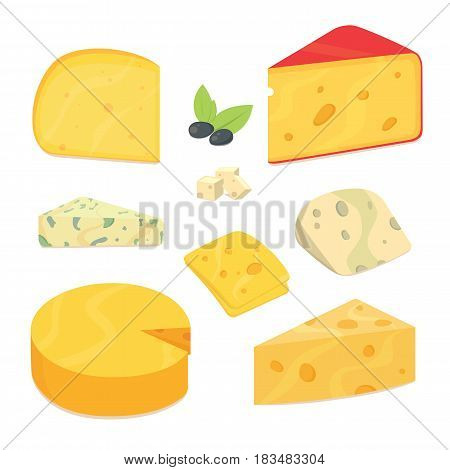 Delicious fresh cheese variety icon flat set isolated vector illustration eps10