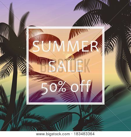 The summer sale poster in a frame on the background of fresh tropic palm leaves poster. Modern Exotic banner, poster, flyer, card, postcard, cover, brochure