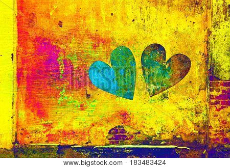 A wall with hearts. Double exposure of the building walls and symbolic hearts. Grunge background. Grunge background. Texture of a concrete wall painted with multi-colored paints