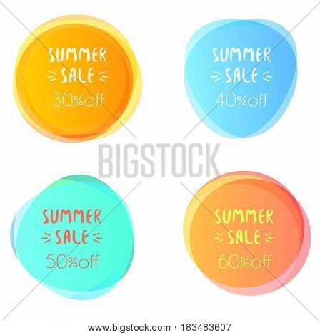 Set of vector illustrations of the blue and orange colored blots with summer sale text