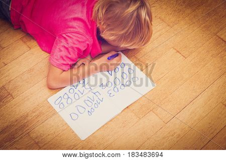 little boy learning to write numbers, kids learning