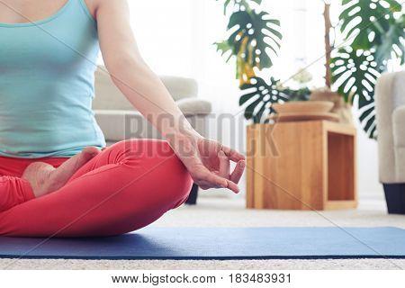 Cropped shot of amazing woman in sportswear doing lotus pose on yoga mat