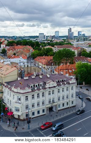 VILNIUS LITHUANIA - JULY 10 2015: View from observation platform of bell tower of Cathedral of St. Stanislaus and St. Wladyslaw on Old Town and high-rise buildings City Vilnius Lithuania