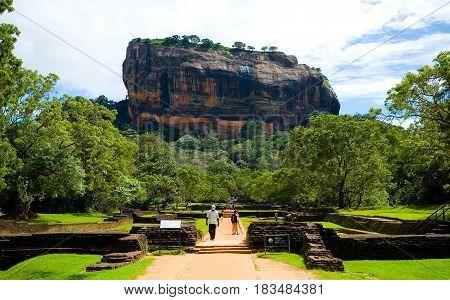 Sigiriya Sri Lanka December 18 2015: View of Mount Sigiriya - a World Heritage Site.