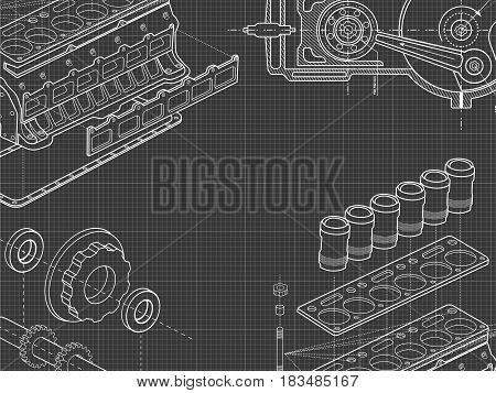 Technical grey background with drawings of details and mechanisms.Engine line drawing background. Vector illustration