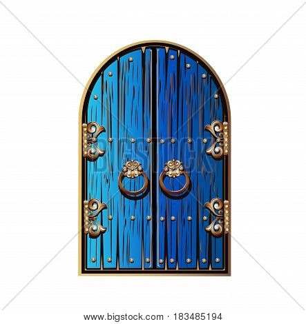 wooden door with gold wrought decorations. Fairytale vector illustration.