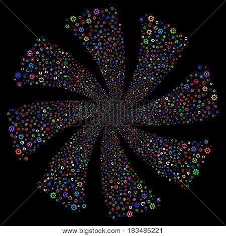 Gear fireworks swirl rotation. Vector illustration style is flat bright multicolored iconic symbols on a black background. Object twirl created from random pictograms.