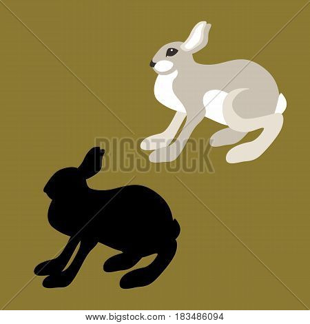 hare vector illustration style Flat black silhouette