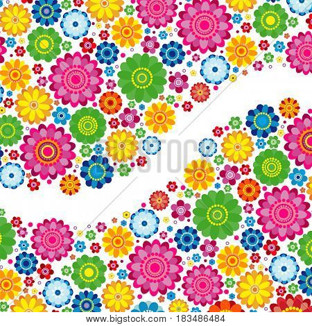 Flowers spring design on a white  background, floral illustration.