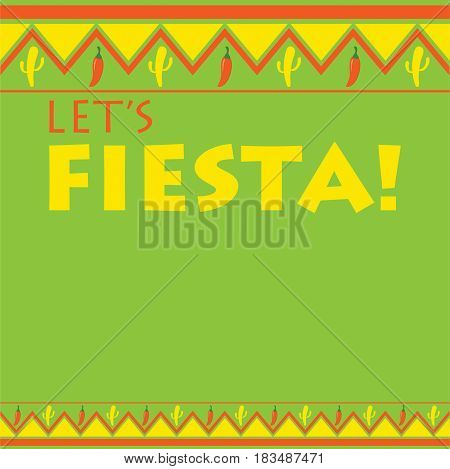 Mexican Pattern Fiesta Card In Vector Format.