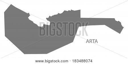 Arta Djibouti Map grey illustration silhouette shape