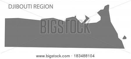 Djibouti Region Map grey illustration silhouette shape