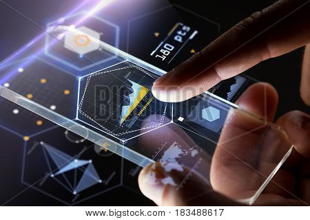 business, people and technology concept - hands with smartphone and virtual charts over black background