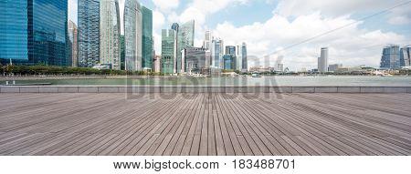 landmark buildings in nanjing from empty wooden floor
