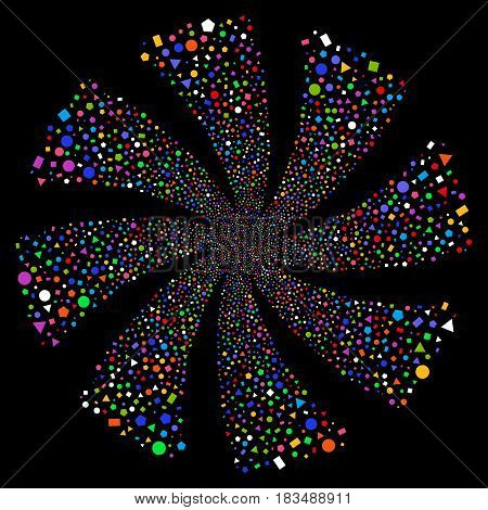 Geometric Figures fireworks swirl rotation. Vector illustration style is flat bright multicolored iconic symbols on a black background. Object twirl combined from random symbols.