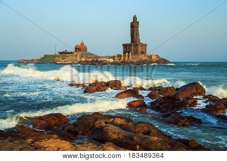 Waves break about the rocks off the coast of Kanyakumari. The southernmost point of Hindustan and Eurasia.