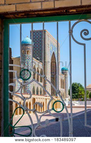 View to Registan mausoleum Samarkand Uzbekistan thru the door