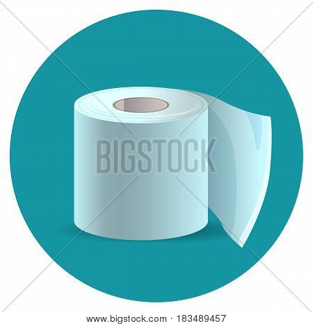 Toilet paper icon on blue web button vector illustration. Close-up of tissue paper roll in flat realistic design, bathroom hygienic object