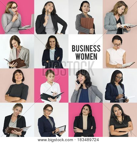 Studio People Collage Business Women Concept
