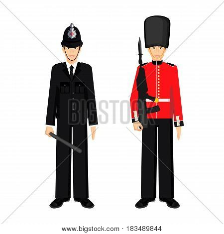 British guardsman with bearskin hat and uk policeman vector illustration isolated on white. Queen's Guard in traditional uniform, soldier with gun