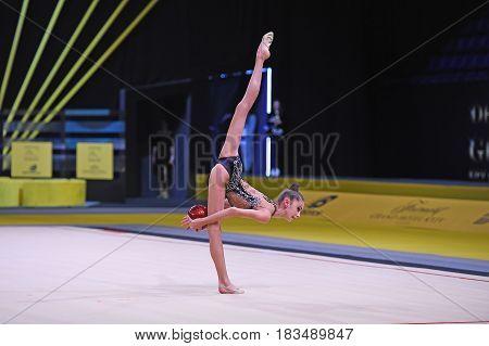 Kyiv Ukraine- March 17 2017: gymnast perform at rhythmic gymnastics competition