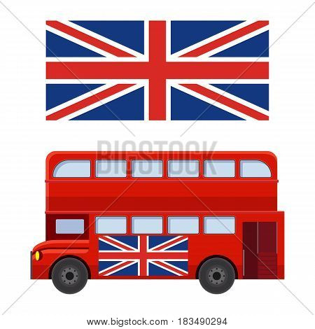 Double decker bus with flag of Great Britain vector illustration isolated on white background. Traditional London transport icon