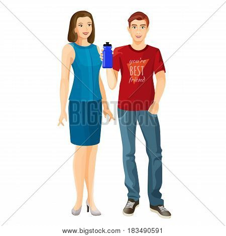 Man in red t-shirt and blue jeans with plastic flask and woman in dress vector illustration isolated on white. Husband and wife family concept