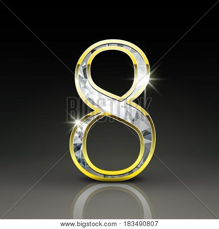 3D Gorgeous Diamond Number 8