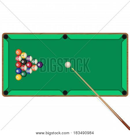 Green billiard table with wooden cue and balls in starting position vector illustration. Snooker and pool gaming elements isolated on white.