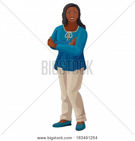 Beautiful afro-american woman in blue blouse and white trousers isolated vector illustration. Black skin female in realistic style design