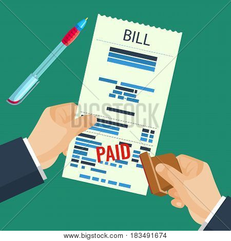 Paid bill in human hands with rubber stamp with pen for signature vector illustration isolated on green. Check paper with made payment and seal