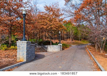 Greensword Path and the stairs to the Welcome Plaza in the Piedmont Park in sunny autumn day Atlanta USA