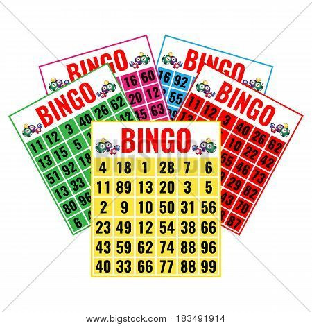 Lottery game tickets, logo design in gambling concept. Bingo colorful cards vector illustration isolated on white.