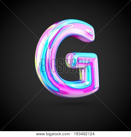 Glossy Holographic Alphabet Letter G Uppercase Isolated On Black Background.