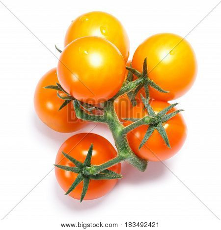 Yellow Herry Tomatoes On The Vine, Paths, Top View