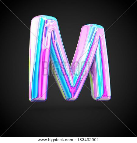 Glossy Holographic Alphabet Letter M Uppercase Isolated On Black Background.