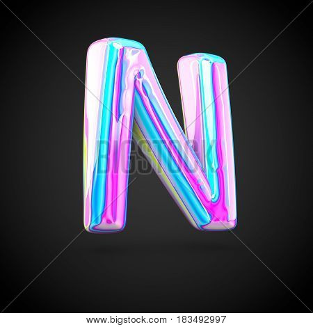 Glossy Holographic Alphabet Letter N Uppercase Isolated On Black Background.