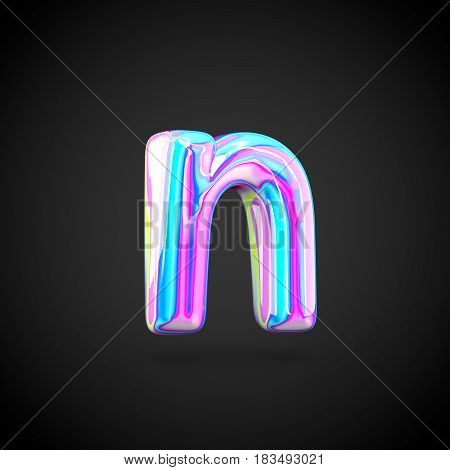 Glossy Holographic Alphabet Letter N Lowercase Isolated On Black Background.