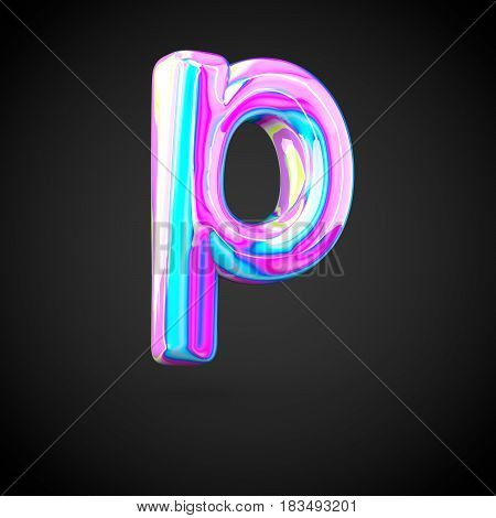 Glossy Holographic Alphabet Letter P Lowercase Isolated On Black Background.