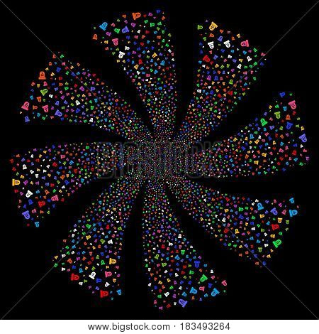 Grave fireworks swirl rotation. Vector illustration style is flat bright multicolored iconic symbols on a black background. Object spiral organized from random symbols.