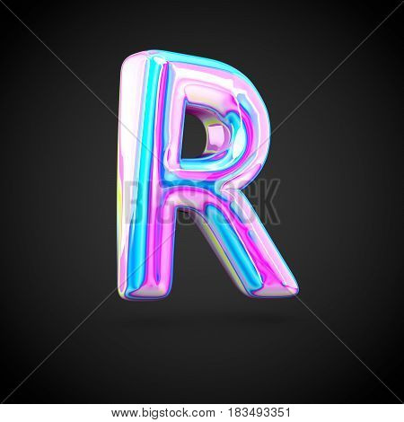 Glossy Holographic Alphabet Letter R Uppercase Isolated On Black Background.