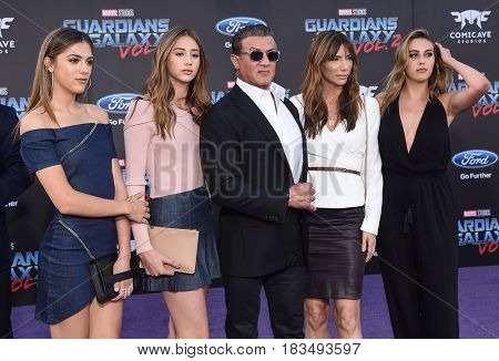 LOS ANGELES - APR 19:  Sylvester Stallone and Jennifer Flavin arrives for the