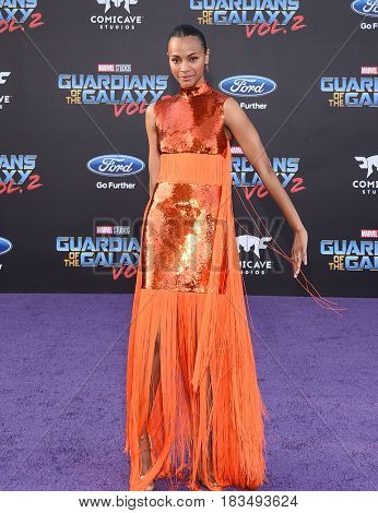 LOS ANGELES - APR 19:  Zoe Saldana arrives for the