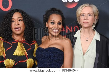 LOS ANGELES - APR 08:  Shonda Rhimes, Kerry Washington and Betsy Beers arrives to the