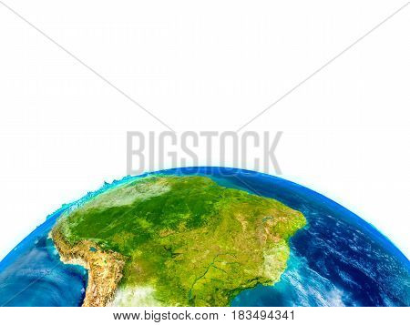 South America On Physical Globe