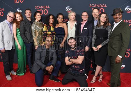 LOS ANGELES - APR 08: Stanchfield, S Foley, B Young, S Rhimes, K Washington, B Beers, J Malina, G Newbern, K Lowes, J Morton, Diaz and C Smith Jr. at Scandal 100 Episode April 08, 2017 Los Angeles, CA