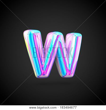 Glossy Holographic Alphabet Letter W Lowercase Isolated On Black Background.