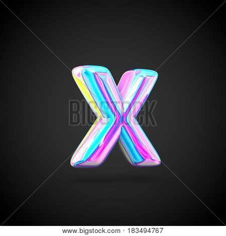 Glossy Holographic Alphabet Letter X Lowercase Isolated On Black Background.