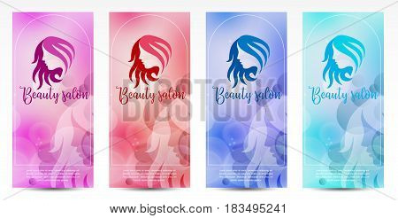 Set of banners with beautiful women silhouettes with long hair. Woman beauty salon design. Beauty salon design. Vector illustration